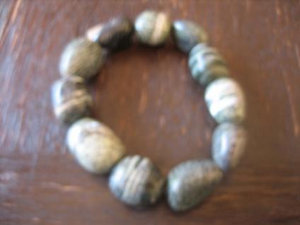 super schönes Armband Silberauge Serpentin 15 mm Oliven 19 cm lang neu Heilstein