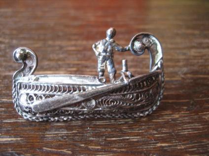 Souvenir aus Venedig Brosche Gondel Filigranarbeit 800er Silber Handarbeit