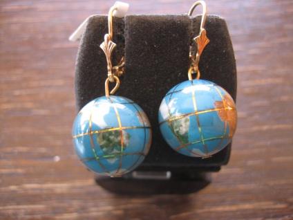 Rarität originelle Vintage Ohrringe Weltkugel Globus Erde 925er Silber gold Türkis