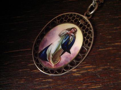 feinste Jugendstil Miniaturmalerei Madonna Maria Anhänger an 835er Silber Kette