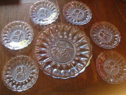 6 Obstteller Dessert Teller + Platte Pressglas blau 50er Jahre sehr vielseitig