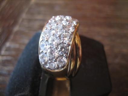prächtiger vintage Designer Ring Cocktailring 925er Silber gold Zirkonia RG 57 - Vorschau 3
