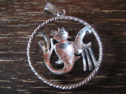 großer Art Deco Markasit Anhänger Sternzeichen Wassermann Horoskop 925er Silber - Vorschau 4