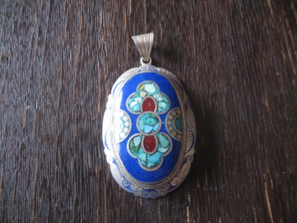 Anhänger Lapislazuli Türkis Intarsien Ethno Boho Handarbeit Tibet Silber Unikat