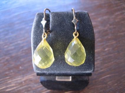 Traum in Giftgrün Ohrringe Tropfen seltener grüner Bernstein 925er Silber gold