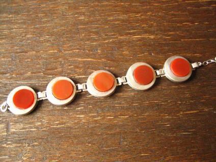 prächtiges breites Art Deco 835er Silber Armband mit runden Carneol Scheiben