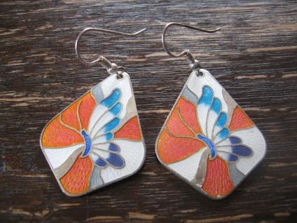 bezaubernde vintage Ohrringe Hänger Chandeliers Emaille Schmetterling in Rosa