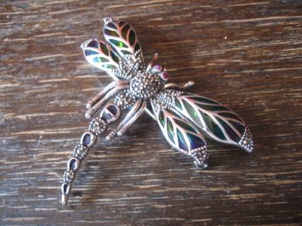 herrliche große Insekten Brosche Libelle Anhänger 925er Silber bunt emailliert - Vorschau 2