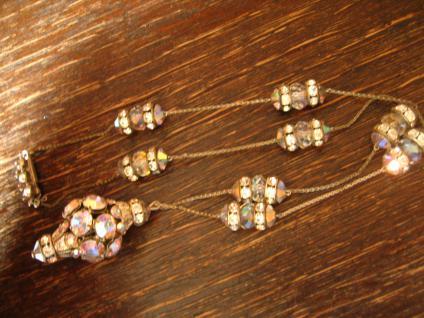 Traum Aurora Borealis Strass Collier Vintage Rhinestone Pendant Glitzerspass - Vorschau 4