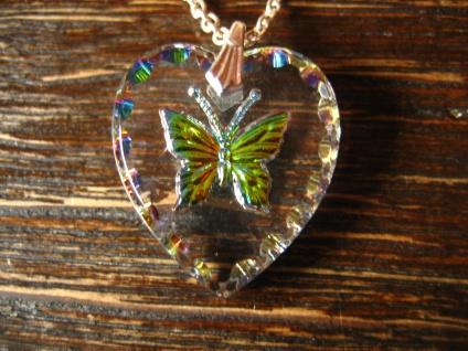 reizender Vintage Herz Anhänger mit Schmetterling an Kette Tracht Dirndl Kinder