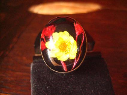 origineller vintage Designer Ring 925er Silber echte Blume Mittagsblume Unikat