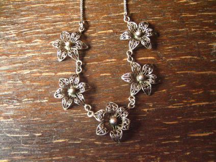 bezauberndes Jugendstil Collier filigrane Blüten Blumen 800er Silber Dirndl