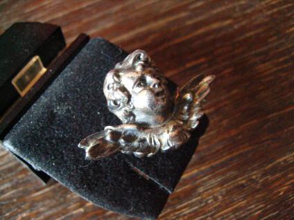 reizende antike Brosche Engel Putto Kopf Schutzengel 925er Silber plastisch - Vorschau 2