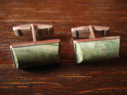 ausgefallene Jugendstil Manschettenknöpfe grüner Stein grün Jaspis 800er Silber - Vorschau 3