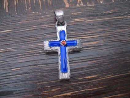bezaubernd winziger Kreuz Anhänger 800er Silber blau emailliert auch für Kinder