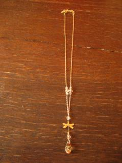 süße Designer Collier Kette Libelle 925er Silber vergoldet Swarovski Elements - Vorschau 3