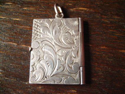 reizendes Art Deco Medallion Art Nouveau Locket 900er Silber für Butzy graviert - Vorschau 3