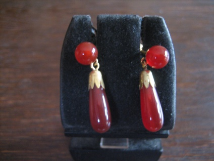 sehr edle Ohrringe Hänger feine Carneol Pampeln und Kugel 925er Silber gold NEU