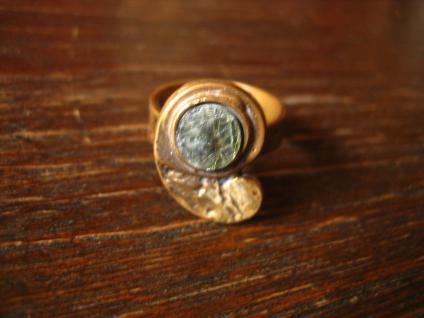 toller Vintage Designer Ring Kupfer Haldbedelstein Kunsthandwerk Arts & Crafts - Vorschau 3