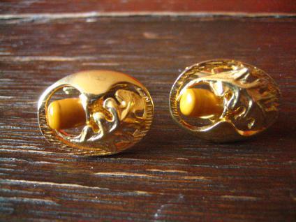 ausgefallene Vintage Manschettenknöpfe Eichenlaub Eicheln grandl Tracht gold