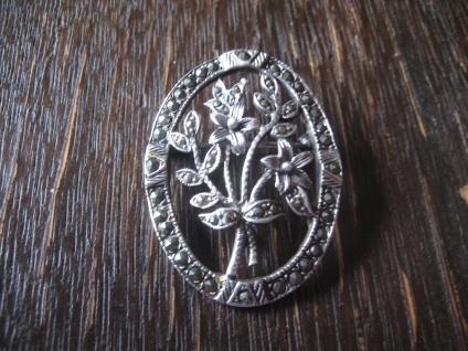 große wunderschöne Vntage Markasit Brosche 925er Silber Blumenbouquet Blüten
