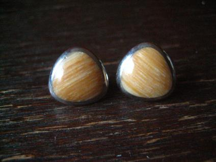 ausgefallene moderne Designer Ohrringe DUR 925er Silber versteinertes Holz