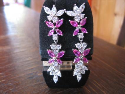 moderne Statement Ohrringe Hänger 925er Silber Zirkonia Pink & Weiß Glitzerspaß