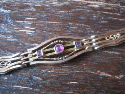 bezauberndes nostalgisches Jugendstil Armband rotgold gold Doublé rubin 20 cm