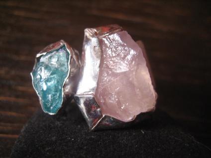 prächtiger Herrenring Ring massiv 925er Silber Stein rosa türkis Unikat RG 67