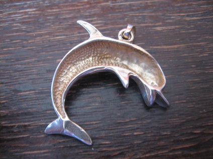 großer vintage Anhänger spielender Delfin Delphin Dolphin Pendant 925er Silber - Vorschau 4