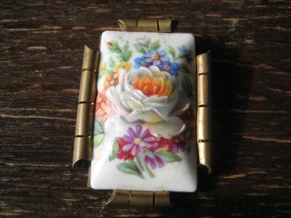 große Vintage Brosche farbenfrohe Blumen Porzellanmalerei Limoges signiert