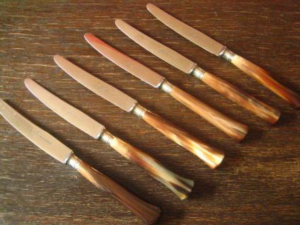 6 reizende sehr elegante antike Obstmesser Messer Horn Griffe Solingen sehr gut