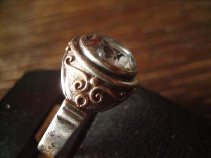 vintage Ring aquamarin Stein 835er Silber tolle Fassung gold 19, 5 mm RG 61 - Vorschau 2