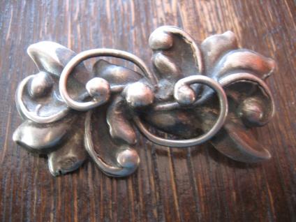 nostalgische Jugendstil Brosche floral Stechpalme Mistel 800er Silber getrieben - Vorschau 1