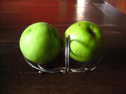 schnuckelige Apfel Schale für frische Äpfelchen Anbietschale silber pl England - Vorschau 3