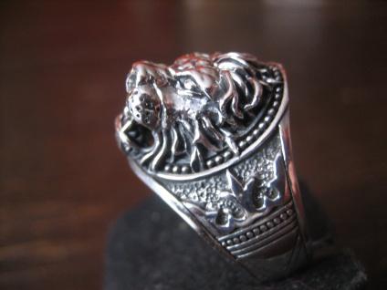 prächtiger Löwen Ring Löwe Löwenkopf plastisch 925er Silber neu et Nox RG 68