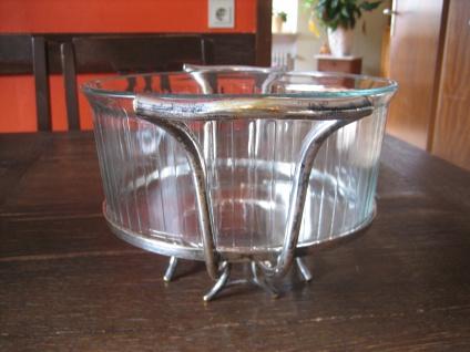 ausgefallener Tafelaufsatz Servierrand Servierschale Glaseinsatz feuerfest