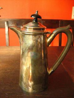 schnuckelige kleine vintage Kakaokanne Silberkanne für heisse Milch silber pl