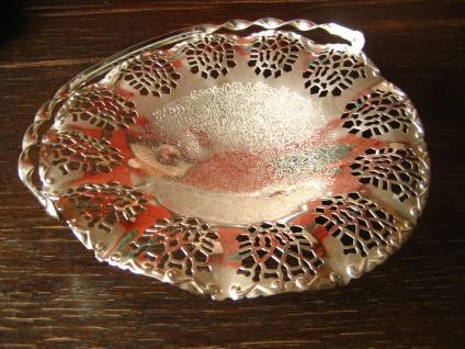 dekorative Silberschale Schale mit Henkel reich verziert silber pl England - Vorschau 2