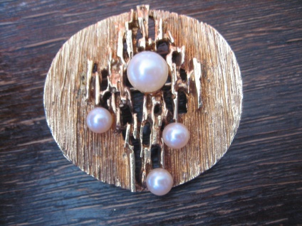 prächtige vintage Designer Brosche gold Perlen organische Optik modernist brooch