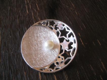 prächtiger Statement Anhänger Mond Halbmond Sterne Stern Perle 925er Silber NEU