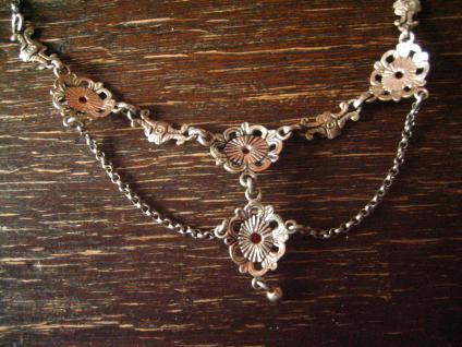 bezauberndes Trachten Collier Kette 835er Silber rote Koralle Dirndl Kropfkette - Vorschau 3