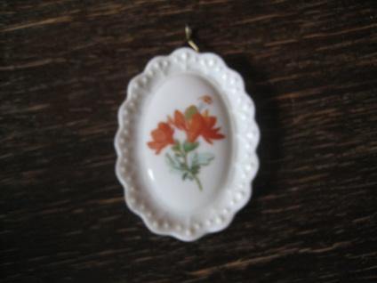 zauberhafter vintage Porzellan Anhänger Tirschenreuth orangefarbene Blüten