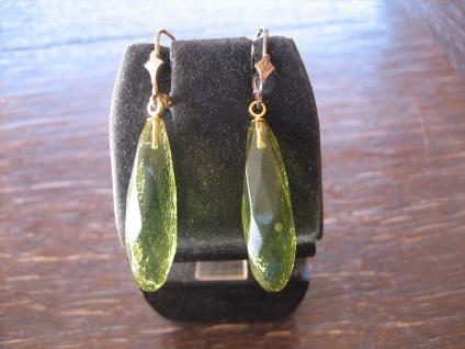 Traum in Giftgrün Ohrringe lange Pampeln seltener grüner Bernstein 925er Silber