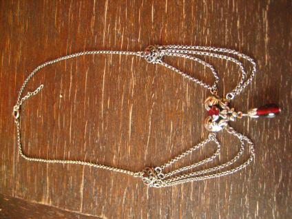 reizvolles Trachten Dirndl Collier im Antik Stil silber granat Strass Erbskette