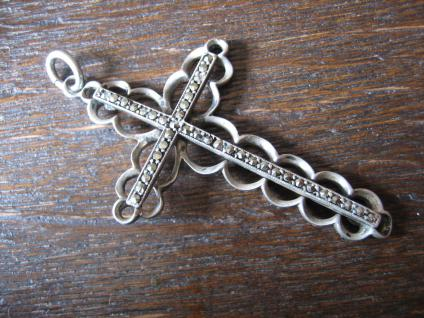 prächtiger großer Art Deco Markasit Kreuz Anhänger 835er Silber aussergewöhnlich