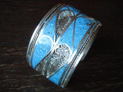 prächtiger Vintage Silber Armreif Armspange Türkis Handarbeit Ethno Berber - Vorschau 1
