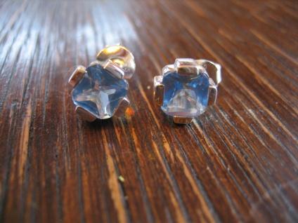 klassische Ohrringe Stecker Ohrstecker aquamarin blautopas 925er Silber NEU