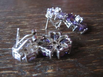 Kronjuwelen gesucht ? opulente Ohrringe Hänger 925er Silber Zirkonia Amethyst - Vorschau 4