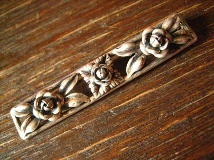 tolle Art Deco Brosche 900er Silber plastische Rosen Rose Krawattennadel Nadel - Vorschau 1